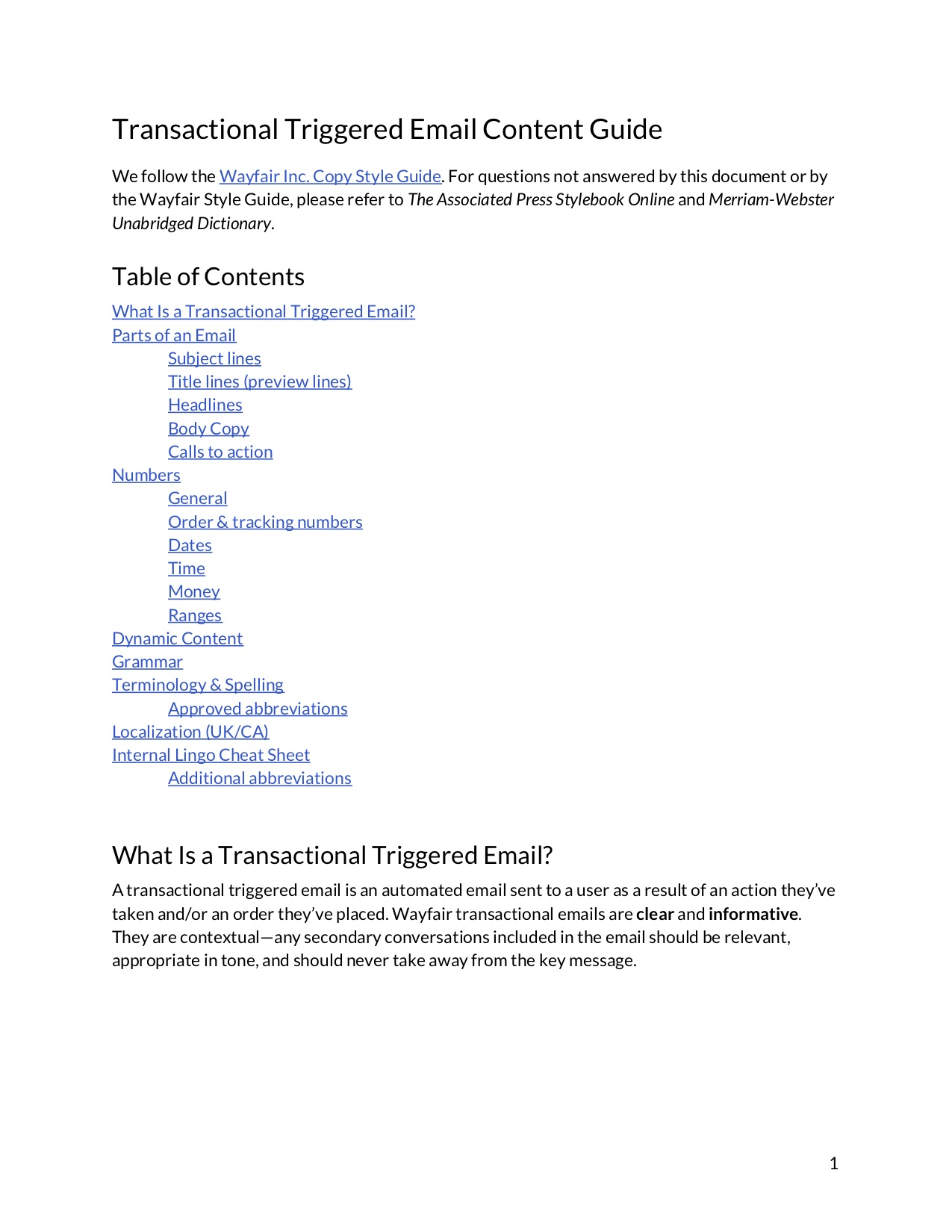 first page of a content guide document with a table of contents