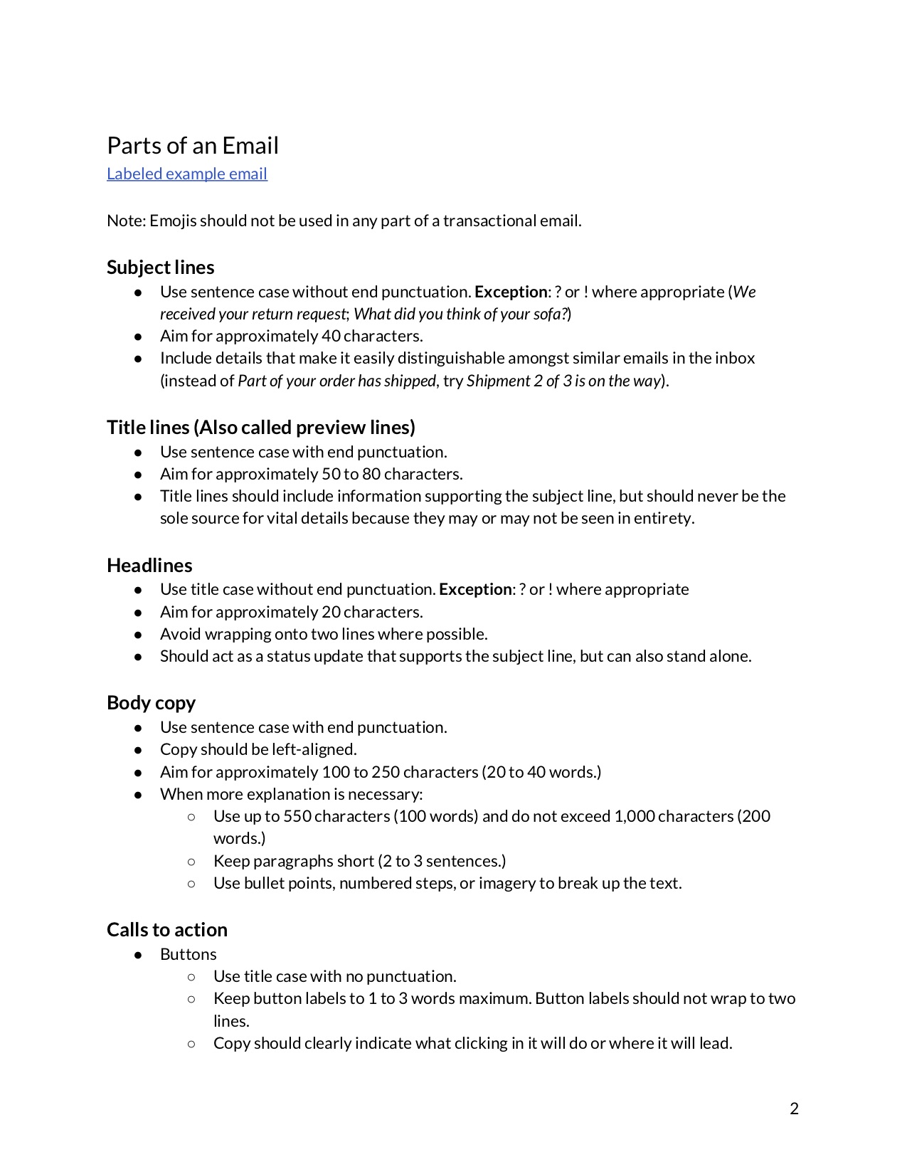 second page of a content guide document that explains the parts of an email