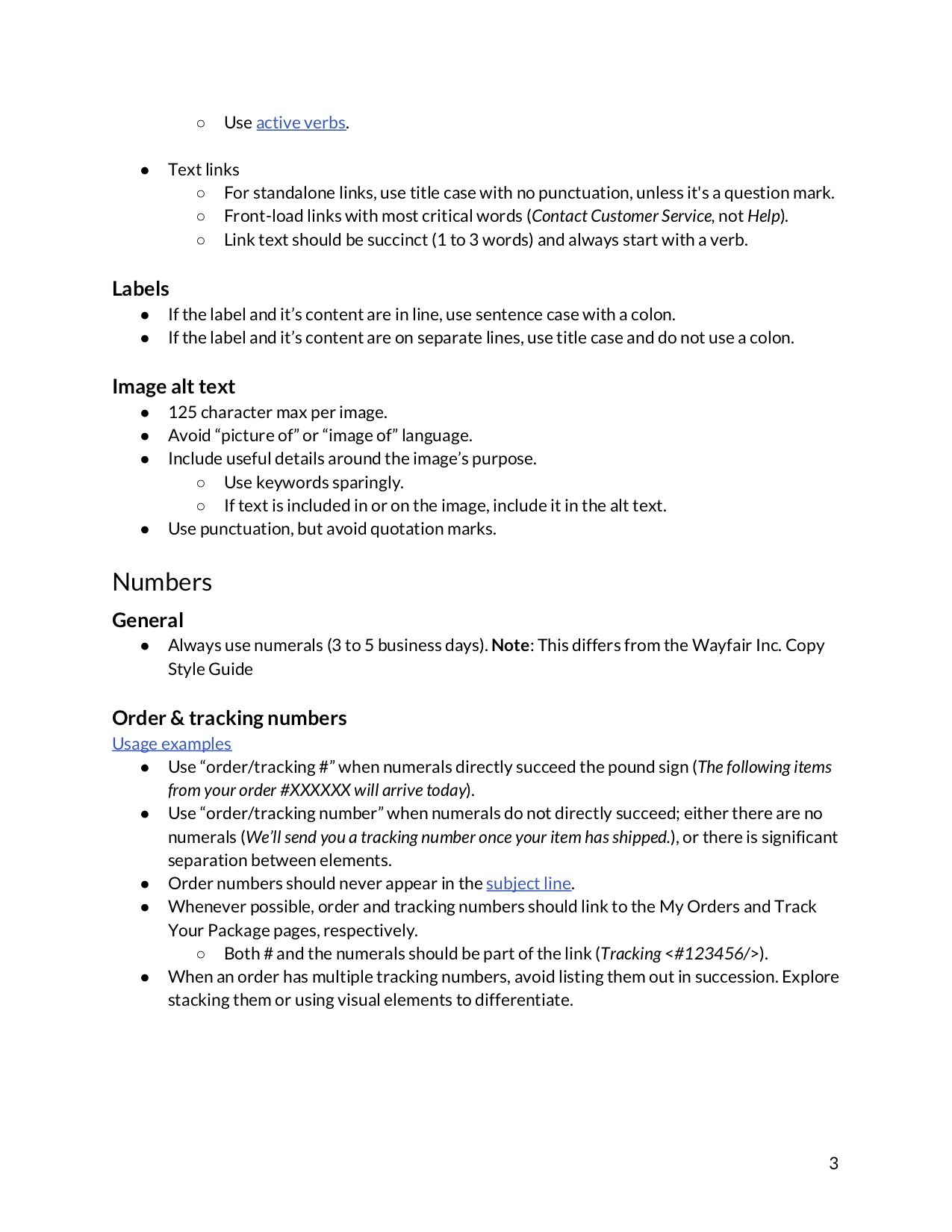 third page of a content guide document with specific style guidelines