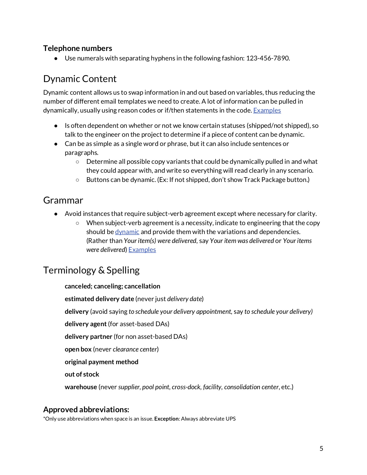 fifth page of a content guide document explaining how to use dynamic content and listing approved spellings