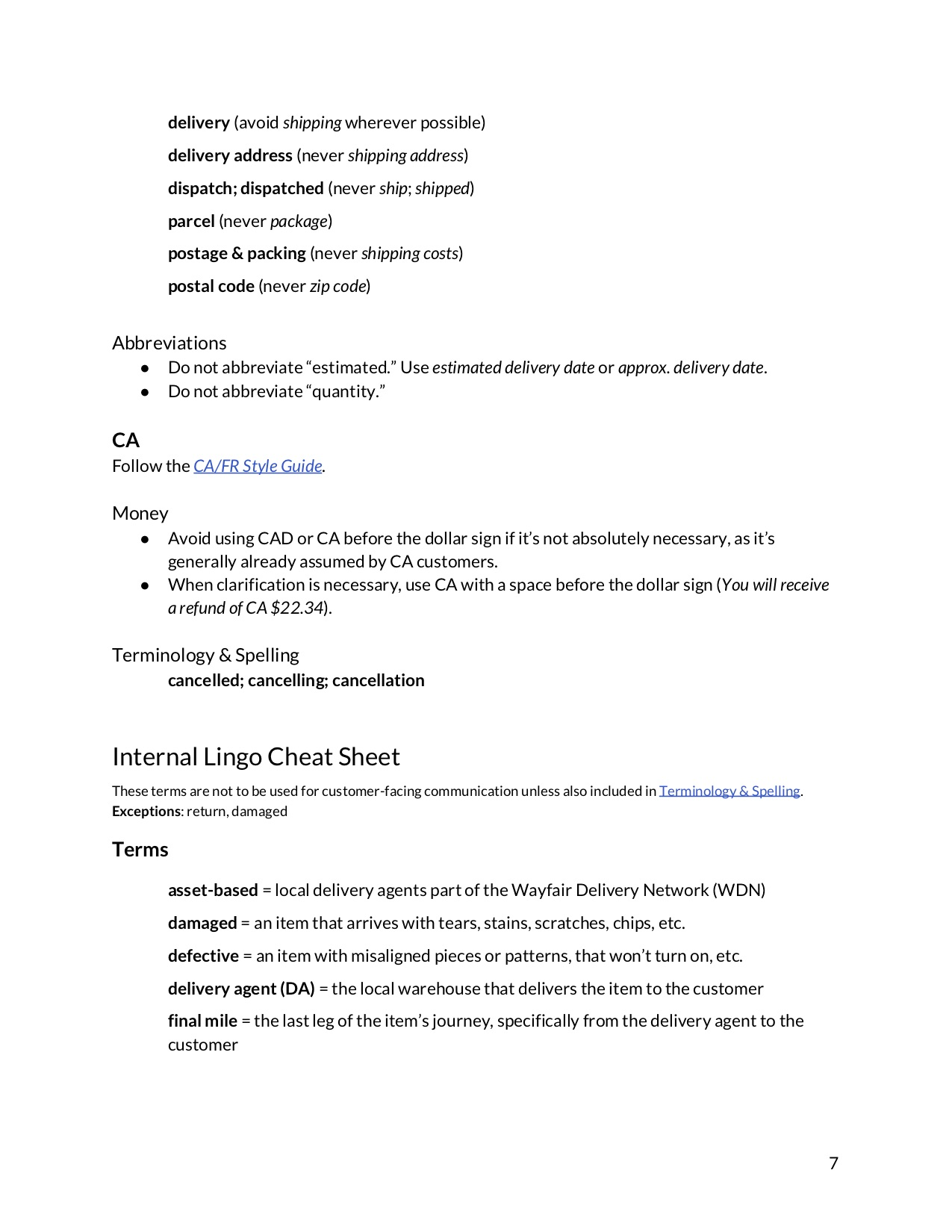 seventh page of a content guide document showing the beginning of a list of internal terms