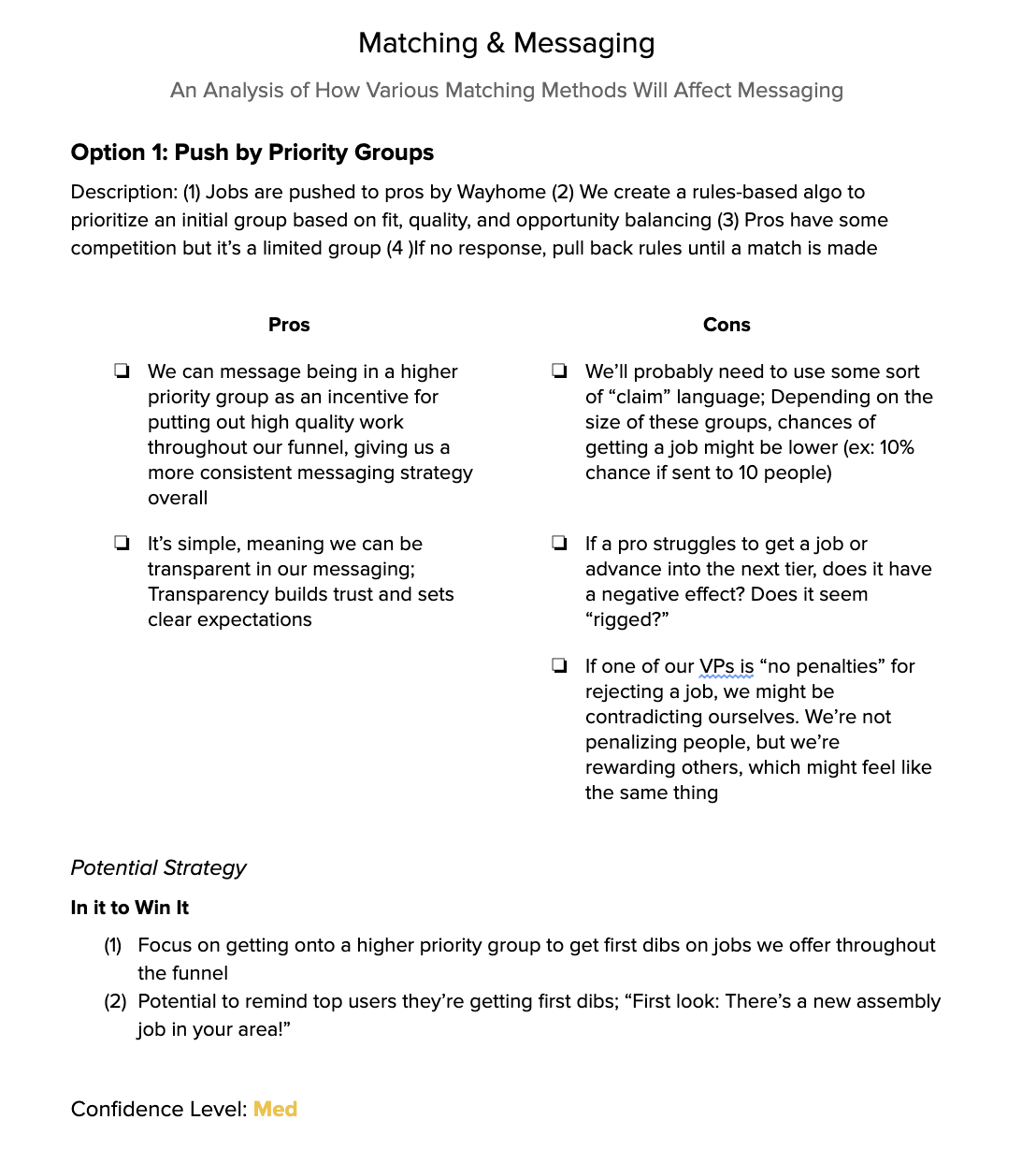 document outlining an algorithm for job matching with a list of pros and cons